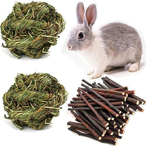 Medium Grass Ball - PIVBY 2 Pack Pet Chew Toy Grass Play Toy Ball with 7oz Apple Sticks Snacks for Treats Guinea Pigs Chinchilla Squirrel Rabbits Hamster
