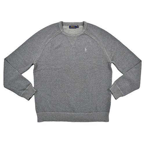 (Polo Ralph Lauren Mens Crew Neck Pullover Sweater (S, Gray))