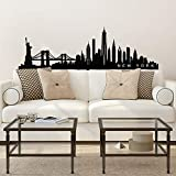 Vinyl Wall Art Decal - New York Skyline - 20' x 65' - Unique Modern American USA East Coast City Home Bedroom Living Room Store Shop Mural Indoor Outdoor Silhouette Adhesive Decor