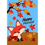 Lantern Hill Cute Happy Harvest Fox in Falling Leaves Autumn Garden Flag; Double Sided; 12.5 x 18 inches; Fall Seasonal Decorative Banner