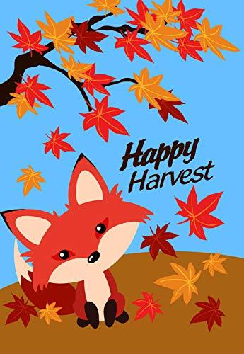 Lantern Hill Cute Happy Harvest Fox in Falling Leaves Autumn