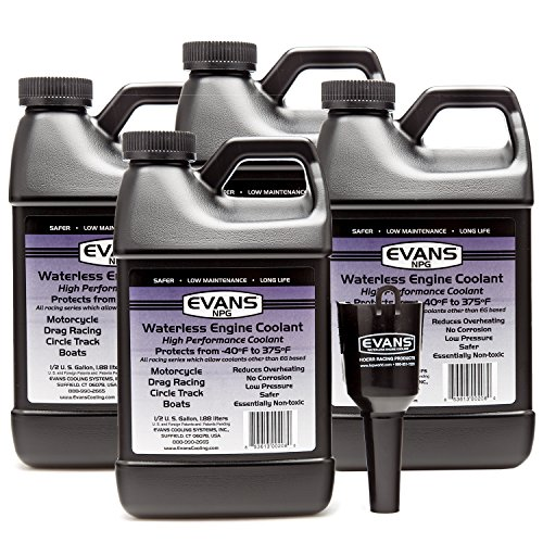 Evans EC10064 Waterless Race Track Specialty Coolant (NPG), 64 fl oz., 4 Pack With Funnel by EVANS