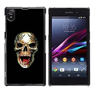 Shell-Star Art & Design plastique dur Coque de protection rigide pour Cas Case pour Sony Xperia Z1 / L39H / C6902 / C6903 / C6906 / C6916 / C6943 ( Metal Death Rock Roll Black Skull )