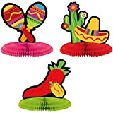 "Fiesta Cinco de Mayo Assorted Mini Honeycomb Centerpiece Decoration, 3 Pieces, Made from Paper, Multi Color, 5"" by Amscan"