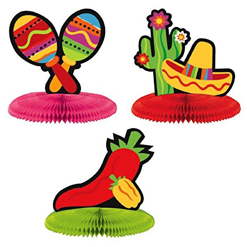 (Amscan Fiesta Cinco de Mayo Assorted Mini Honeycomb Centerpiece Decoration, 3 Pieces, Made from Paper, Multi Color, 5