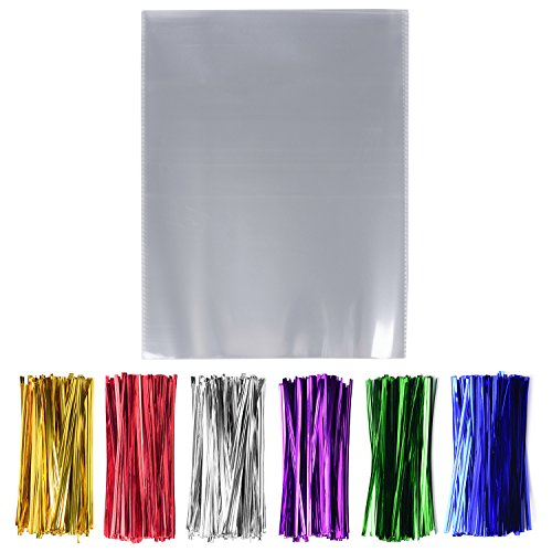 Treat Bags 9 (200 Pcs 9'' x 12'' Clear Cello Cellophane Treat Bags - 1.4mil thickness OPP Plastic Bags with 6 Mix Colors Twist Ties Perfect for Wedding Party Cookie Candy Buffet Supply (9'' x 12''))