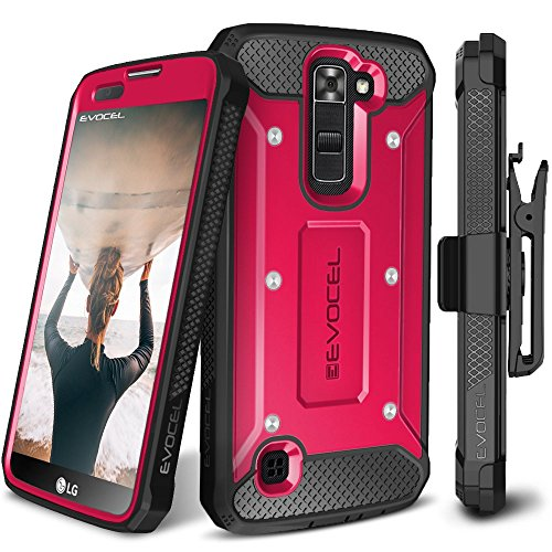 LG K7 / LG Tribute 5 / LG Treasure LTE Case, Evocel [Explorer Series] Premium Full Body Case with Rugged Belt Clip Holster for LG K7 (MS330) / LG Tribute 5 (LS675) / LG Treasure LTE (L52VL), Pink