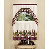 wine and grape kitchen curtains - DH 3 Piece 36 inch Burgundy Color Chardonnay Tier & Swag Kitchen Tier Set, Dark Red Color Grape Wine Cheese Fruits Graphic Print Toile Pattern Vintage Traditional Colorful Frills Vibrant, Polyester