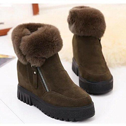 Erhöhte Weibliche Samt TPulling Freizeit Schnee Stiefel Plus Stylische Warme Kaffee Stiefel Reißverschluss Seite Mode BwtYwz