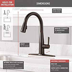 Delta Essa Single-Handle Kitchen Sink Faucet with Pull Down Sprayer and Magnetic Docking Spray Head, Venetian Bronze 9113-RB-DST