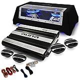 Auna London Equipo música para coche 4.1 (6000W potencia, 4x altavoces, subwoofer auto iluminacion LED, amplificador 5 canales, cables incluidos)