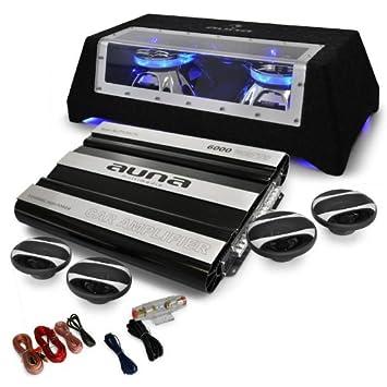 Auna London Equipo música para coche 4.1 (6000W potencia, 4x altavoces, subwoofer auto iluminacion LED, amplificador 5 canales, cables incluidos): ...