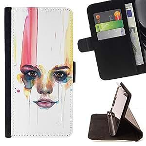 """For Samsung Galaxy A5 ( A5000 ) 2014 Version,S-type Labios Mujer Minimalista"""" - Dibujo PU billetera de cuero Funda Case Caso de la piel de la bolsa protectora"""