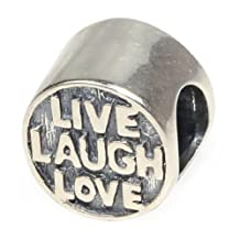 Beads Hunter 925 Sterling Silver Charms Bead Live Love Laugh Button Shape Fit European Bracelet Snake Chain