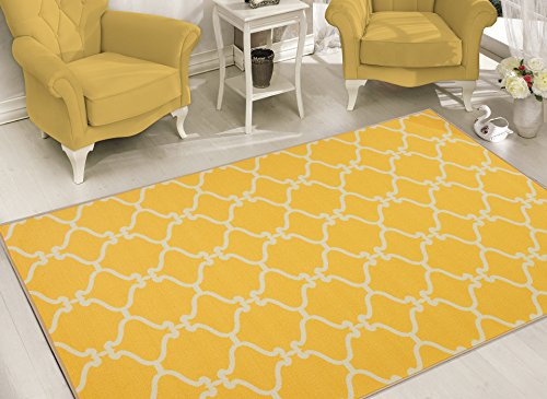 Sweet Home Stores Clifton Collection  Moroccan Trellis Design  Area Rug, Yellow by Sweet Home Stores
