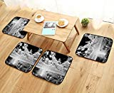 Printsonne Anti-Skid Chair Cushions New York City Skyscrapers Skyline Black and White Rooftop Manhattan Midtown Health is Convenient W19.5 x L19.5/4PCS Set
