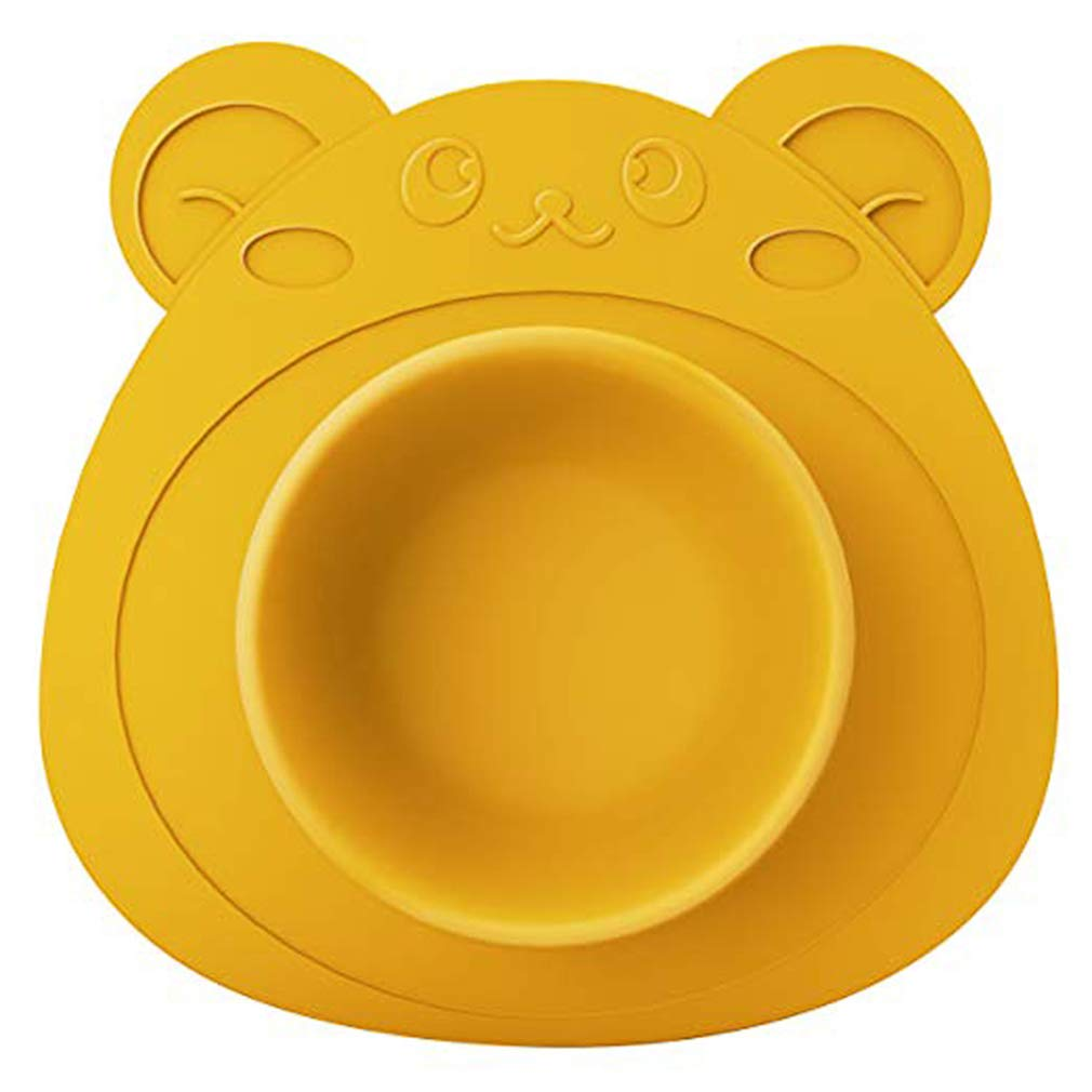 Hehong Baby Silicone Placemat Bear Food Bowl Toddlers Plate Dish Unbreakable Non-Slip Suction Pads Safe Placemat Plate,BPA-Free,Cartoon Increase Appetite for Children Hehong Network technology Ltd