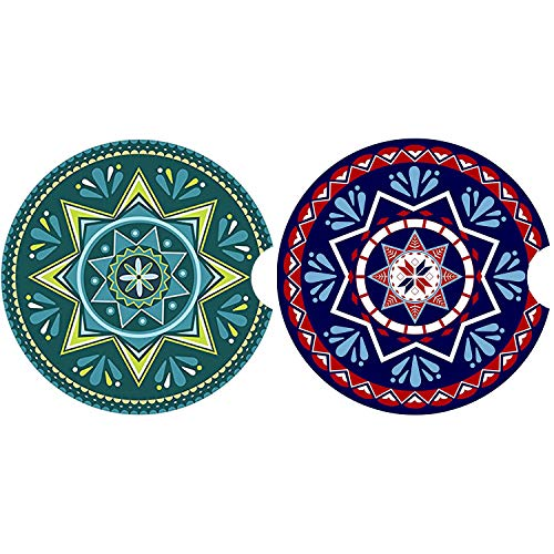 """LogHog Small 2.56"""" Car Coasters 2 Pack,Absorbent Ceramic Coasters for Car,Auto Coasters for Cup Holder,Car Accessories Absorb Spills from Your Cup and Keep Cup Holders Clean and Dry. (01)"""