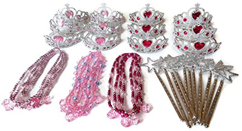 Princess Party Supplies - Crowns, Necklaces, Wands - Party Favors for Girls (12 crowns, 12 necklaces, 12 wands)