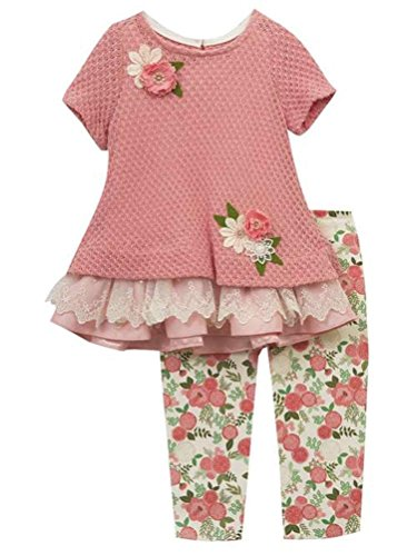 Rare Editions Baby Girls Knit Lace Top Flowers and Leggings Set Rose Ivory, 3T Rare Editions Spring