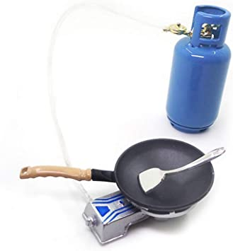 1//12 Scale Gas Alloy Stove Tank Gift Set for Doll House Kitchen Supplies Accs