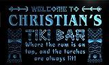 pm1564-b Christian's Tiki Bar Mask Beer Neon Light Sign