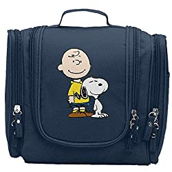 Charlie Brown Snoopy Hanging Toiletry Bag Travel Portable Makeup Pouch For Girls Women Men Navy