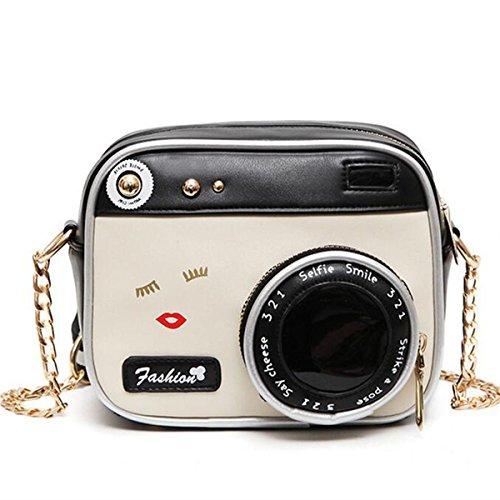 OURBAG Women Camera Shape Small Cute Long Shoulder Bag Handbag Messenger Bag Black&White Medium