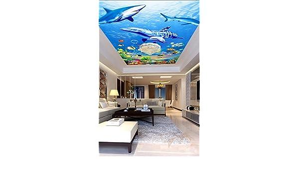 Huytong 3D Papel Pintado Sala De Estar Dormitorio Pegatinas De Pared Mural Techo De Delfines Y Tiburones Del Mundo Marino 400Cmx300Cm|157.48(In) ...