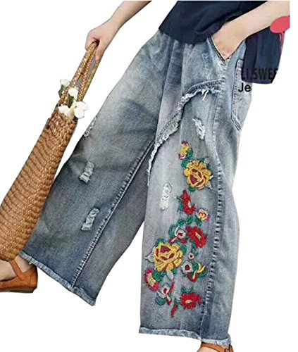 - YESNO PW2 Women Casual Cropped Pants Loose Floral Jeans Ripped Fringed Embroidered Fringed Wide Leg