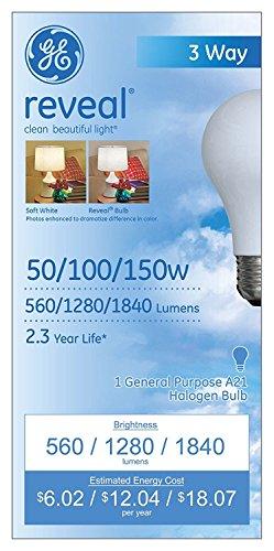 GE Lighting Reveal Halogen 3-way 71367 150-Watt, 1840-Lumen A21 Light Bulb with Medium Base, (Reveal Halogen Bulb)
