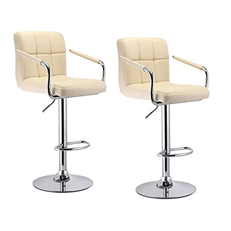 Phenomenal Wefun Bar Stools Set Of 2 Faux Leather Bar Stools With Arms And Backs Swivel Kitchen Stools Breakfast Bar Stools New Chair Height Adjustable Beige Onthecornerstone Fun Painted Chair Ideas Images Onthecornerstoneorg