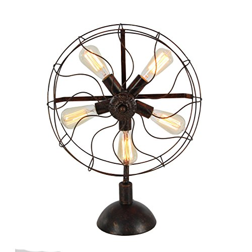 Urban Designs 7793248 24-inch Edison Vintage Fan Style Table Lamp, Black by Urban Designs