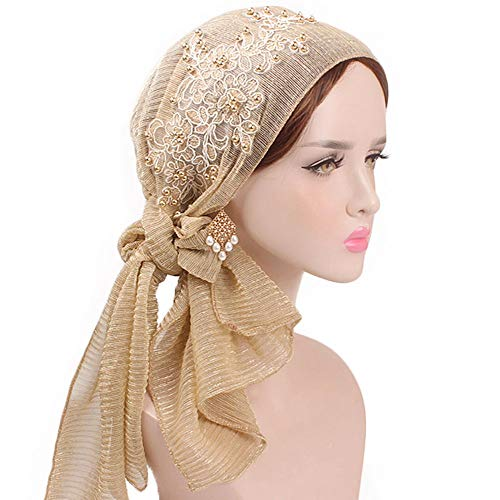 Hot Sales!! ZOMUSAR Womens Soft Satin Lined Cap Night Sleep Hat Cap with Ribbons Retro Country Garden Printing Hat Cap (Gold)