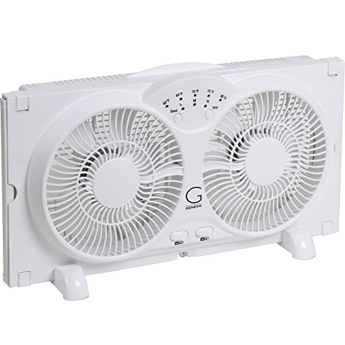 Genesis Twin Window Fan with 9 Inch Blades, High Velocity Reversible AirFlow Fan, LED Indicator Lights Adjustable Thermostat & Max Cool Technology, ETL Certified