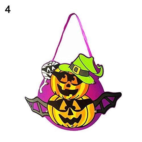 Kids Handwork DIY Halloween Cartoon Ghost Castle Pumpkin Gift Candy Bag Handbag 4 OneSize -