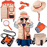 Kids Explorer Kit, 7 Pcs Outdoor Exploration Kit with Binoculars, Costume Vest, Safari Hat, Bag, Hand-Crank Flashlight, Magnifying Glass and Whistle, Camping, Educational Toy Gift for Boys & Girls