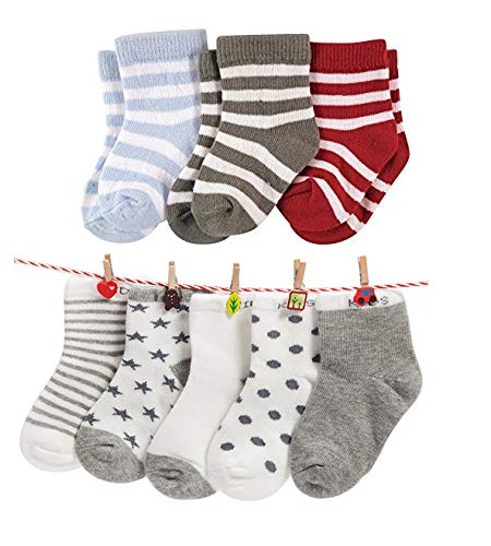 FOOTPRINTS Organic cotton Baby Socks-12-30 Months – Pack of 8 Pairs -P3 Stripes and P5 Grey
