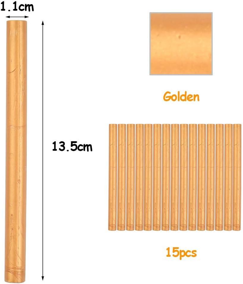 POKIENE 15 Pi/èces Cire /à Cacheter Cire pour Cachet et D/écoration B/âtons de Cire pour Timbres de Cachet de Cire R/étro Vintage Or 13,5 * 1,1 CM