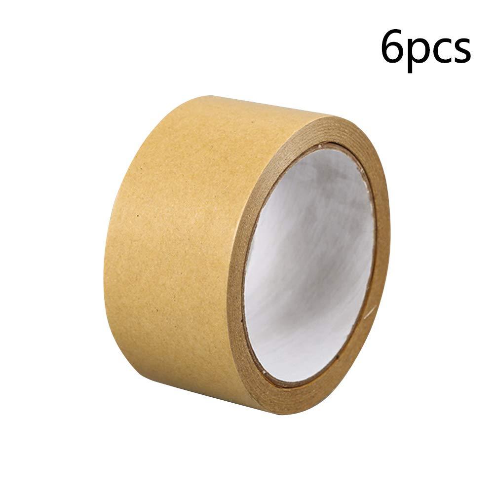 Almabner Come da Immagine Resistente Confezione da 6 Pezzi Nastro Adesivo di Carta Marrone 24 mm Multiuso