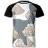 Newfood Ss Whale Hovering On Sky Clouds Animal Fish Marine Life Nautical Sea Graphic Men's Short Sleeve Raglan T XXL