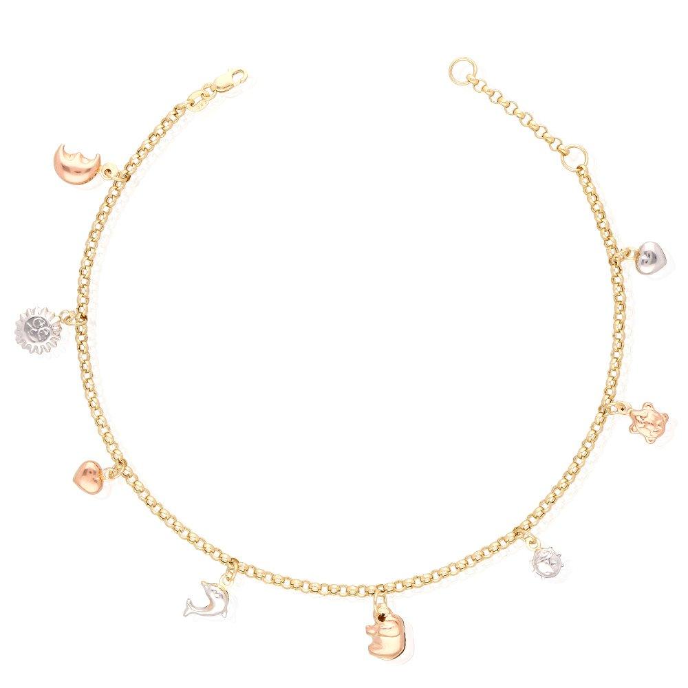 WJD Exclusives 14k Yellow Gold White Gold Tri-Color Gold Lucky Charm Hollow Anklet Bracelet 9 10 36263-WG-1-1