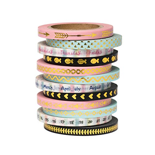 Premium Washi Tape 12 Set Value Pack for DIY, Scrapbook, Planner, Gift Wrapping. Cute, Classic Thin Foil Washi Tape from Love My Tapes. 11/64 Inch Width x 32.8 Foot Length Total 394 Feet