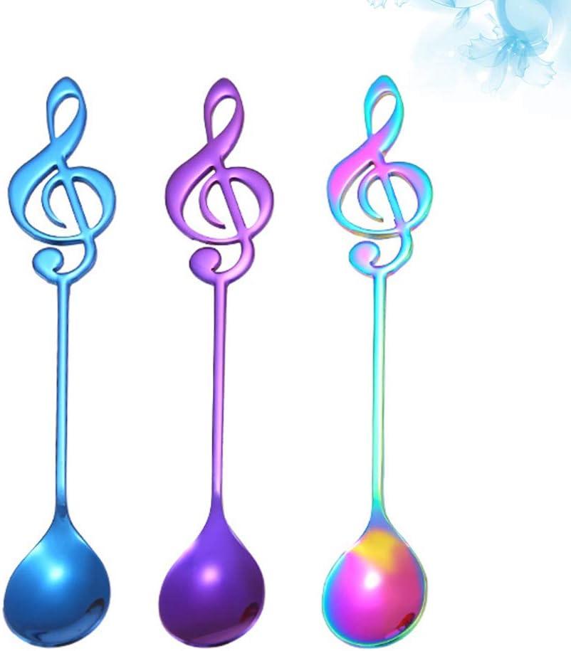 UPKOCH 3pcs Stainless Steel Coffee Spoons Musical Note Dessert Tea Ice Cream Spoons Stirring Spoons Black Golden Rose Golden