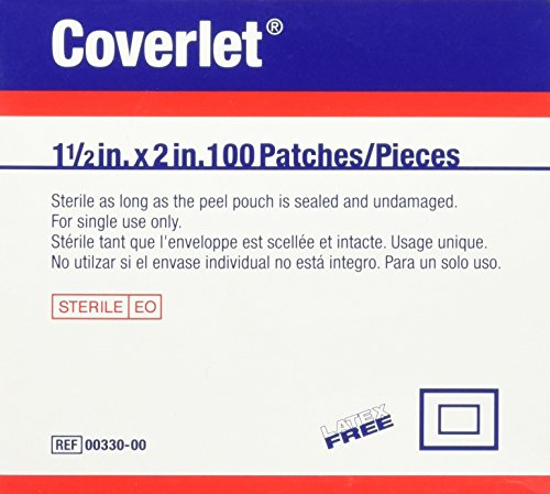 Coverlet Fabric Shapes Patch 1-1/2'' x 2'' (Box of 100) by Wound Care