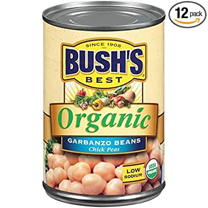 Amazon Com Bush S Best Organic Garbanzo Beans Canned Beans Organic Chick Peas Usda Certified Organic Source Of Plant Based Protein And Fiber Low Fat Gluten Free 12 Grocery Gourmet Food