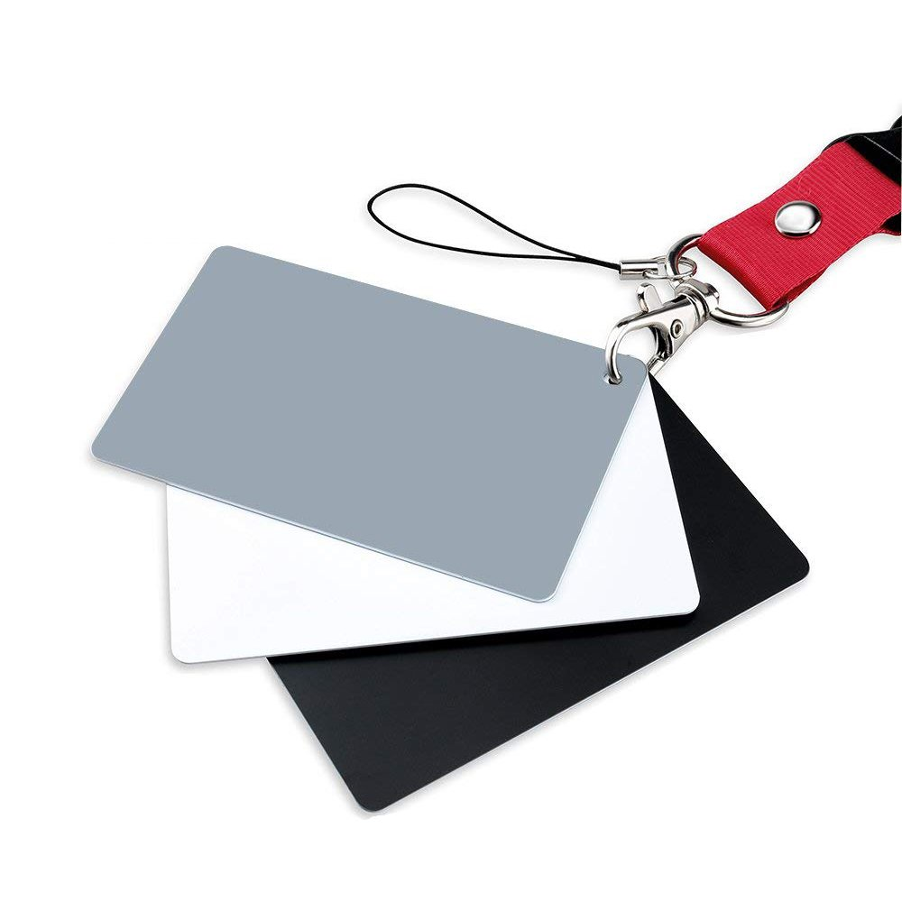 Carta di bilanciamento del bianco, fotografia Carta grigia Esposizione del 18% per fotografia, video, DSLR e film Set di carte di esposizione Premium, nero bianco 3 'x2' nero bianco 3 x2 FOTYRIG PC1020