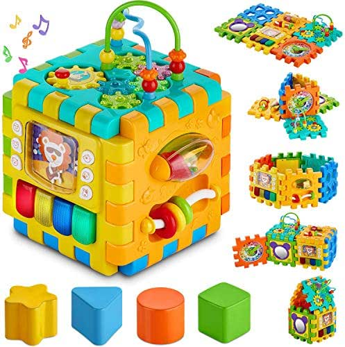 Baby Activity Cube Toddler Toys - 6 in 1 Shape Sorter Toys Baby Activity Play Centers for Kids Infants Educational Musci Play Cube Preschool Toys for 1 2 Years Old Boys & Girls Holiday