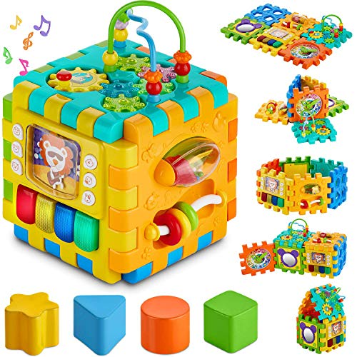 Baby Activity Cube Toddler Toys - 6 in 1 Shape Sorter Toys Kids Activity Play Cube Center for Infants Early Development Educational Toys for 1 2 Years Old Boys & Girls (Activity Center)