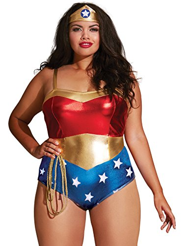 Dreamgirl Women's Plus-size Plus Size Superhero-themed Teddy, Multi, OSQ (Beauty Queen Fancy Dress)